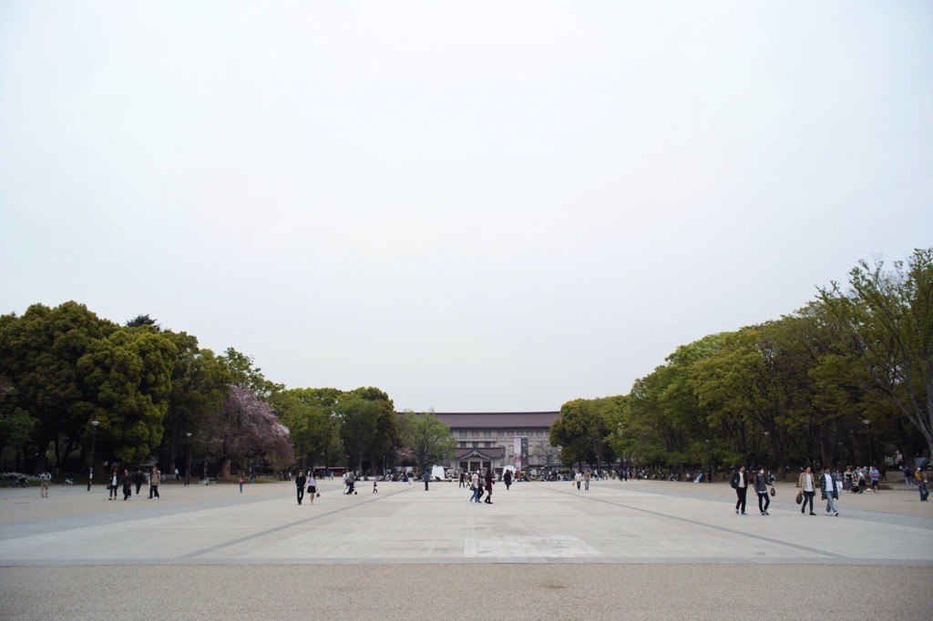 開放感がある上野公園の噴水前広場。両サイドのカフェいつも混みすぎ