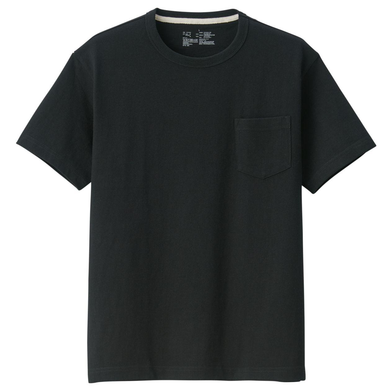 無印良品|太番手 天竺編みポケット付き半袖Tシャツ